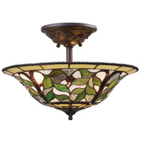 ELK 08015-TBH Latham 3 Light 16 inch Tiffany Bronze Semi Flush Mount Ceiling Light