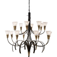 Equinox 16 Light 47 inch Black W/ Gold Highlights Chandelier Ceiling Light