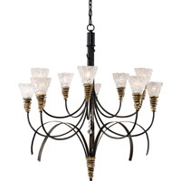 Equinox 10 Light 38 inch Black W/ Gold Highlights Chandelier Ceiling Light