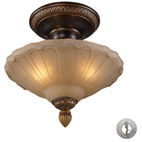 ELK 08092-AGB-LA Restoration 3 Light 12 inch Golden Bronze Semi Flush Mount Ceiling Light in Recessed Adapter Kit