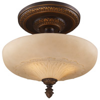 Restoration 3 Light 15 inch Golden Bronze Semi-Flush Mount Ceiling Light