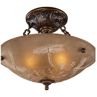 Restoration 3 Light 16 inch Golden Bronze Semi Flush Mount Ceiling Light in Standard