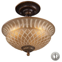 Restoration 3 Light 10 inch Golden Bronze Semi Flush Mount Ceiling Light in Recessed Adapter Kit
