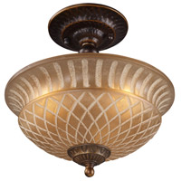 Restoration 3 Light 10 inch Golden Bronze Semi Flush Mount Ceiling Light