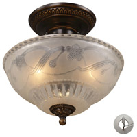 ELK 08098-AGB-LA Restoration 3 Light 11 inch Golden Bronze Semi-Flush Mount Ceiling Light in Recessed Adapter Kit