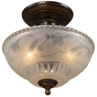 Restoration 3 Light 11 inch Golden Bronze Semi-Flush Mount Ceiling Light in Standard