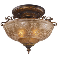 Restoration 3 Light 19 inch Golden Bronze Semi-Flush Mount Ceiling Light