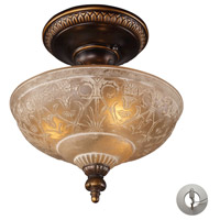 ELK 08100-AGB-LA Restoration 3 Light 12 inch Golden Bronze Semi Flush Mount Ceiling Light in Recessed Adapter Kit