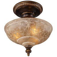 ELK 08100-AGB Restoration 3 Light 12 inch Golden Bronze Semi-Flush Mount Ceiling Light in Standard