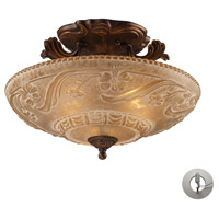 ELK 08101-AGB-LA Restoration 3 Light 16 inch Golden Bronze Semi Flush Mount Ceiling Light in Recessed Adapter Kit