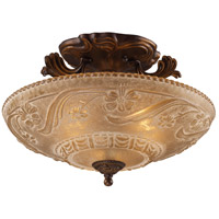 Restoration 3 Light 16 inch Golden Bronze Semi Flush Mount Ceiling Light