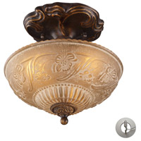 ELK 08103-AGB-LA Restoration 3 Light 10 inch Golden Bronze Semi Flush Mount Ceiling Light in Recessed Adapter Kit