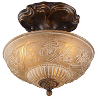 Restoration 3 Light 10 inch Golden Bronze Semi-Flush Mount Ceiling Light in Standard