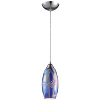 Iridescence 1 Light 5 inch Satin Nickel Pendant Ceiling Light in Incandescent, Storm Blue Glass, Standard