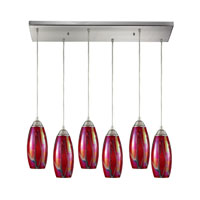 ELK Lighting Iridescence 6 Light Pendant in Satin Nickel 10076/6RC-FI