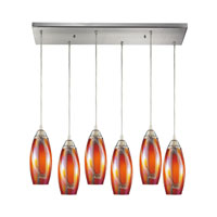 Iridescence 6 Light 30 inch Satin Nickel Pendant Ceiling Light in Golden Glass