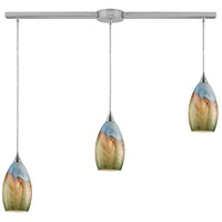 ELK 10077/3L Geologic 3 Light 36 inch Satin Nickel Linear Pendant Ceiling Light in Incandescent, Linear with Recessed Adapter