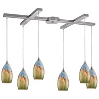 ELK 10077/6 Geologic 6 Light 17 inch Satin Nickel Pendant Ceiling Light in Incandescent, Light Bar