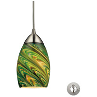 Mini Vortex 1 Light 4 inch Satin Nickel Pendant Ceiling Light in Incandescent, Evergreen Glass, Recessed Adapter Kit