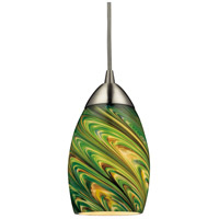 Mini Vortex 1 Light 4 inch Satin Nickel Pendant Ceiling Light in Incandescent, Evergreen Glass, Standard