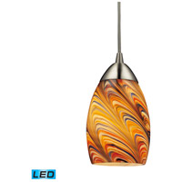 ELK 10089/1RV-LED Mini Vortex LED 4 inch Satin Nickel Pendant Ceiling Light in Rainbow Vortex Glass, 1, Standard