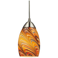 Mini Vortex LED 4 inch Satin Nickel Pendant Ceiling Light in Rainbow Vortex Glass, Standard