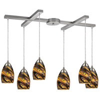 ELK Lighting Mini Vortex 6 Light Pendant in Satin Nickel 10089/6CV