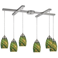 Mini Vortex 6 Light 33 inch Satin Nickel Pendant Ceiling Light in Evergreen Glass
