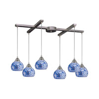Mela 6 Light 33 inch Satin Nickel Pendant Ceiling Light in Starburst Blue Glass