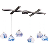 Mela 6 Light 33 inch Satin Nickel Pendant Ceiling Light in Mountain Glass