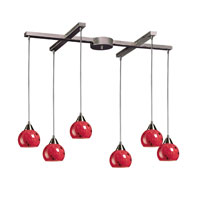 Mela 6 Light 33 inch Satin Nickel Pendant Ceiling Light in Fire Red Glass