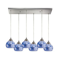 Mela 6 Light 30 inch Satin Nickel Pendant Ceiling Light in Starburst Blue Glass