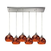 Mela 6 Light 30 inch Satin Nickel Pendant Ceiling Light in Espresso Glass