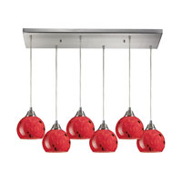 Mela 6 Light 30 inch Satin Nickel Pendant Ceiling Light in Fire Red Glass