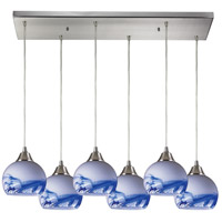 Mela 6 Light 30 inch Satin Nickel Pendant Ceiling Light in Mountain Glass