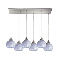 Mela 6 Light 30 inch Satin Nickel Pendant Ceiling Light in Snow White Glass