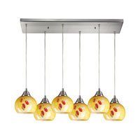 Mela 6 Light 30 inch Satin Nickel Pendant Ceiling Light in Yellow Blaze Glass