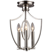 Dione 3 Light 9 inch Polished Nickel Semi Flush Mount Ceiling Light in Triangular Canopy