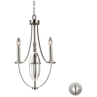 Dione 3 Light 12 inch Polished Nickel Chandelier Ceiling Light in Recessed Adapter Kit