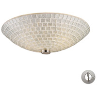 ELK Lighting Fusion 2 Light Semi Flush in Satin Nickel and Silver Mosaic Glass with Recessed Conversion Kit 10139/2SLV-LA