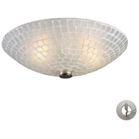 ELK Lighting Fusion 2 Light Semi Flush in Satin Nickel and White Mosaic Glass with Recessed Conversion Kit 10139/2WHT-LA