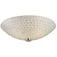 Fusion 2 Light 12 inch Satin Nickel Semi-Flush Mount Ceiling Light in Silver Mosaic Glass, Standard