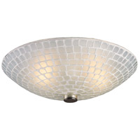 Fusion 2 Light 12 inch Satin Nickel Semi-Flush Mount Ceiling Light in White Mosaic Glass, Standard