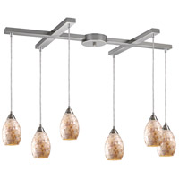 ELK 10141/6 Capri 6 Light 17 inch Satin Nickel Pendant Ceiling Light in Incandescent, Light Bar