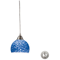 Cira 1 Light 6 inch Satin Nickel Pendant Ceiling Light in Incandescent, Pebbled Blue Glass, Recessed Adapter Kit