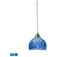 Cira LED 6 inch Satin Nickel Pendant Ceiling Light in Pebbled Blue Glass, Standard