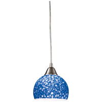 Cira 1 Light 6 inch Satin Nickel Pendant Ceiling Light in Incandescent, Pebbled Blue Glass, Standard