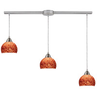 Cira 3 Light 36 inch Satin Nickel Pendant Ceiling Light in Pebbled Espresso Glass