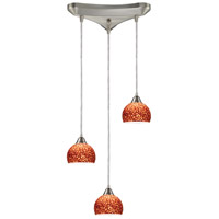 Cira 3 Light 10 inch Satin Nickel Pendant Ceiling Light in Pebbled Espresso Glass