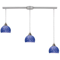 Cira 3 Light 36 inch Satin Nickel Pendant Ceiling Light in Pebbled Blue Glass